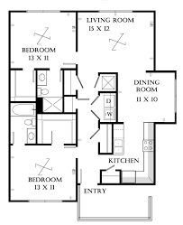 House Plan Bedrooms Open Neutral Apartment Two Bedrooms Plan
