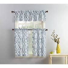 3 Piece Curtain Rod Mainstays Beckham 3 Piece Kitchen Curtain And Valence Set