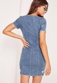 frayed edge zipped denim dress light bleach blue missguided