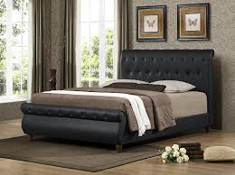 Black Leather Sleigh Bed Furniture World Dali Upholstered Sleigh Bed With