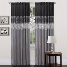 Black And Grey Bedroom Curtains Amazon Com Lush Decor Night Sky Curtain Panel Black Gray