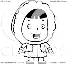 cartoon clipart of a black and white cute eskimo character in