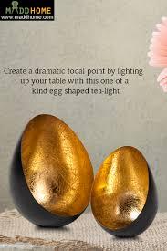 Light Holder Egg Shaped Black And Gold Powder Coated Tea Light Holder Setof 2