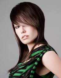 long razor cut hair with a very long fringe area