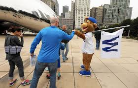 Chicago Cubs Flags Clark The Cub Surprises Fans Around Town With U0027w U0027 Flags Posters
