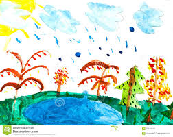 children drawing rain and lake royalty free stock image image