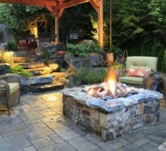 Firepit Design Ideas For Outdoor Flooring In Patio With Wood Deck Railing Designs