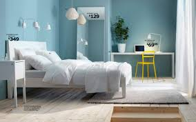 modern stylish ikea bedroom design with cushions and crystal