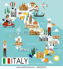 italy map map italy travel iconsitaly travel map stock vector 669109273