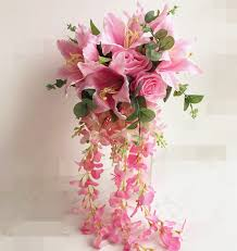 bouquets for wedding pink waterfall hybrid bouquet 60cm artificial