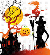 free jack o lantern clipart halloween symbols silhouettes witch evil castle leafless tree