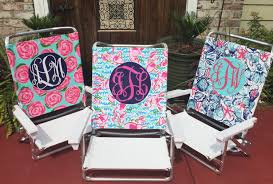 Monogrammed Lawn Chairs Hand Painted Lilly Pulitzer Inspired Monogram Beach Chair