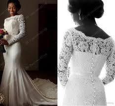 arabic 2017 lace mermaid wedding dresses scoop long sleeves beaded