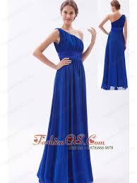 royal blue chiffon beading prom dress empire one shoulder floor