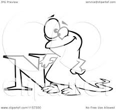 cartoon clipart of a black and white happy newt leaning on the