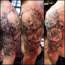 skull and roses sleeve skull clock and rose sleeve tattoos fresh