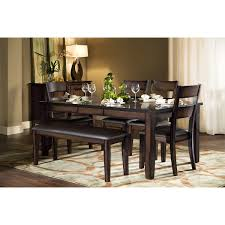 dining room table with bench and chairs city furniture mango2 dark tone rectangular table 4 chairs u0026 bench