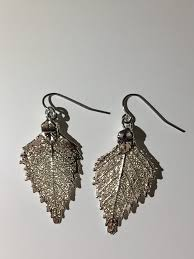 real earrings real leaf silver birch earrings adorn jewellers of chesterfield
