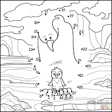 penguin mom with baby dot to dot free printable coloring pages