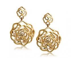 gold earrings in shape hollow carved rhinestone shape stud earrings