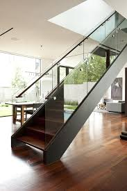 wooden staircase railing with glass staircase modern with steel