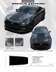 Black Mustang Stripes 2015 2017 Ford Mustang Gt Mega Hood Decals Stripe 3m Pro Graphic