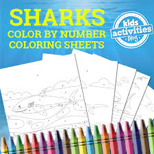 shark color number coloring pages printables library