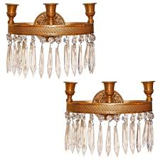Crystal Wall Sconces Pair Of Antique French Empire Style Bronze And Crystal Wall