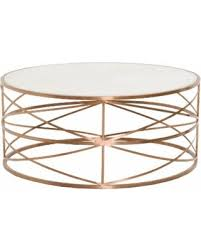 white stone coffee table deals on gray manor william brushed rose gold white stone top round