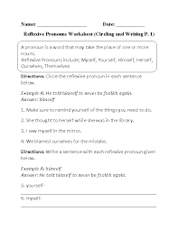 pronouns worksheets reflexive pronouns worksheets