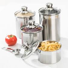 Stainless Steel Canister Sets Kitchen 4 Pc Stainless Steel Canister Set W Tempered Glass Lids