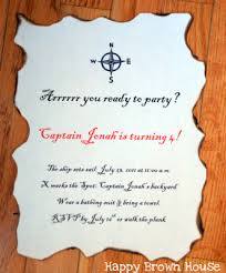 message in a bottle pirate birthday invitations