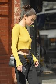 selena gomez sweater gomez in yellow sweater nyc 09 27 2017