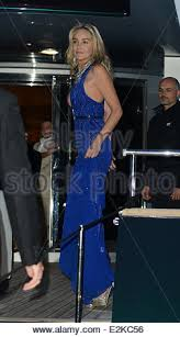 sharon stone at roberto cavalli u0027s yacht in a blue dress during the