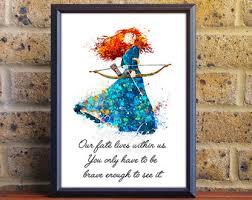 disney princess merida brave watercolor poster print