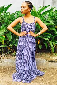 fuga blue stripes maxi dress
