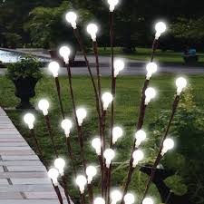 attractive 2 x 60cm solar powered twig tree led lights garden decor