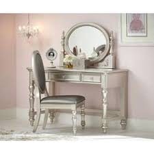 Youth Vanity Table Glitzy Glamorous Platinum Mirrored Vanity Dressing Table Bedroom