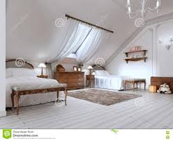Bedroom Design For Two Beds Luxury Children U0027s Room With Two Beds And A Roof Window Stock