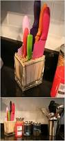 put bamboo skewers in a container and create a knife block