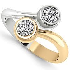 two diamond ring two tone 14k gold bezel set 2 diamond ring
