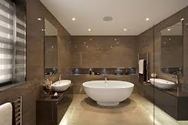 Stone Floor Bathroom - hallway shelves with beige stone floor bathroom contemporary and