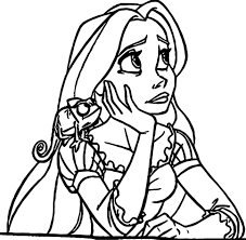 rapunzel flynn thinking coloring pages wecoloringpage