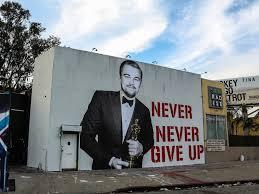 leonardo dicaprio u0027s big oscar win commemorated with street mural