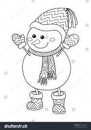 outlined doodle antistress coloring funny snowman stock vector