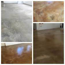 concrete flooring before and after using kemiko concrete stain