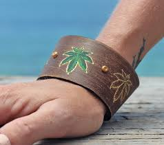 leather leaf bracelet images Leather cuff bracelet cannabis leaf bracelet made in colorado jpg