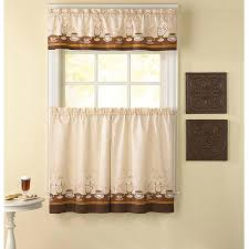 Curtains Set Chf You Cafe Au Lait Kitchen Curtains Set Of 2 Walmart