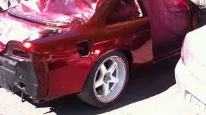 custom nissan 200sx nissan 200sx s14 wide body silvia chrome candy red custom paint