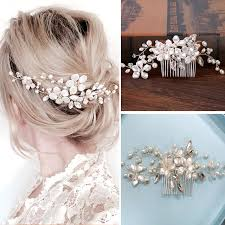wedding hair combs handmade silver pearls flowers hair combs wedding hair